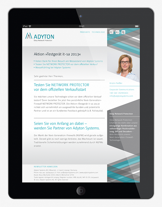 Adyton Systems | Corporate Design | Newsletter