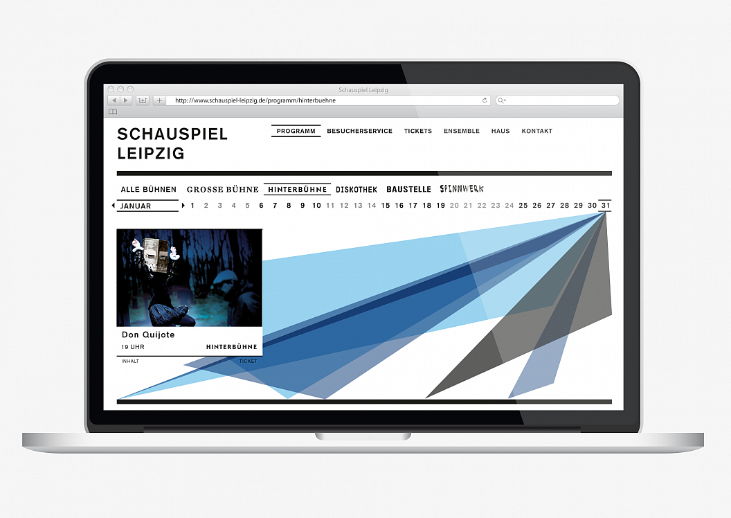 Schauspiel Leipzig | Corporate Design | Website | Programm Hinterbühne