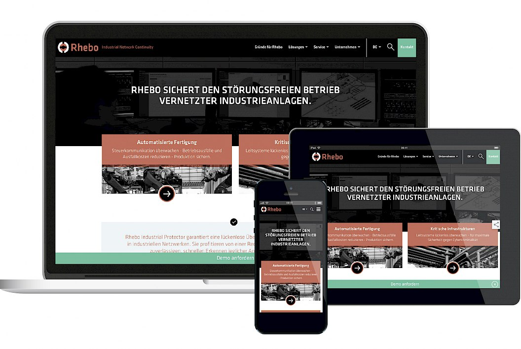 Rhebo | Corporate Design | Gestaltung Website im responsiven Design