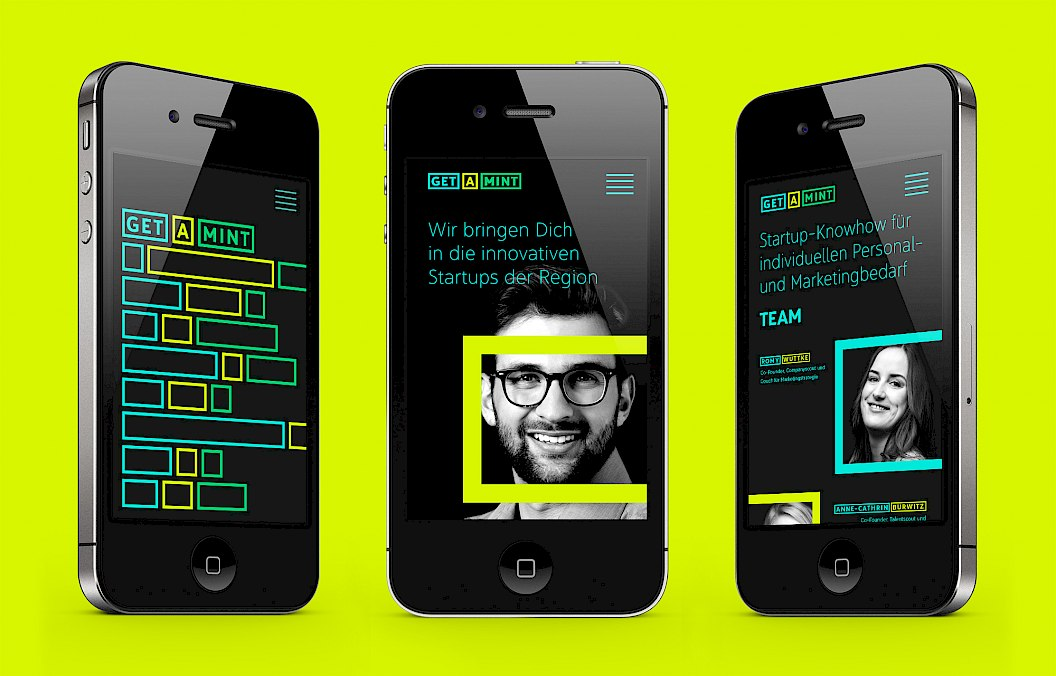 get a MINT | Corporate Design | Corporate Website | responsives Design | mobile first